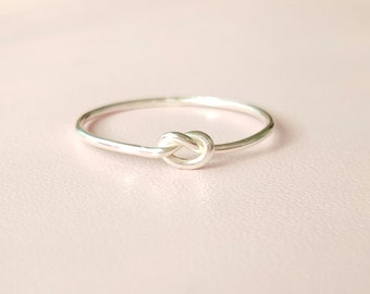 Silver Knot Ring tiny thin sterling silver stacking ring love knot thumb ring midi ring pinky ring knuckle ring