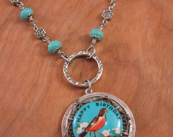 Birthday Necklace - Repurposed Vintage Robin Bird Pinback Happy Birthday Necklace in Turquoise and Silver - December Birthstone