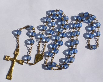 Antique Rosary for the Dead Blue Crystal Rosary