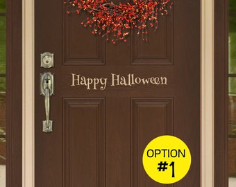Front Door Decal, Happy Halloween, Three Options Available, Removable Decor for Fall