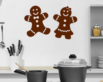 Gingerbread Man and Woman vinyl decals, Christmas Decal, Kitchen wall art, Holiday decals