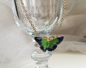 Elaegant Butterfly Pendant Necklace, Party Jewelry, Blue and Green Enamel Butterfly Pendant