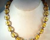 Venetian Murano Glass Foil Bead Necklace, Clear with Gold Metallic Foil Centers.1960s Elegant Glass Italian