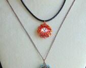 Orange and Red Fiery Sun Swarovski Crystal Pendant Necklace - Crystal Necklace - Swarovski Jewelry -  Crystal Jewelry