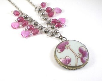 Pink Flower Heart Necklace Porcelain Vintage Pendant Boho Chic Bib Jewelry