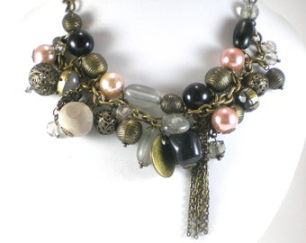 Antiqued Brass  Faux Pearl Necklace Vintage Filigree And Lucite Beads Bib Recycled Findings