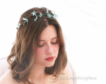 Flower Crown In Robins Egg Blue, Rustic Floral Wreath for Weddings, Bridesmaid Halo with Blue Daisies Woodland Flower Headpiece