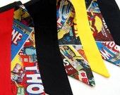 SALE Superhero Birthday Party Decor, Banner Decoration, Bunting, Boy's Party Flags - red, black, blue, yellow - Super Hero, Spiderman, Thor