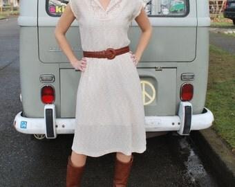 Vintage 70's Natural Sweet Dress Sleeveless Dress