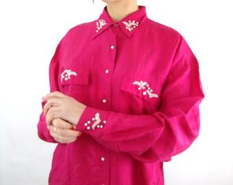 80s / 90s silk and pearl i love kd lang blouse / magenta / M / L