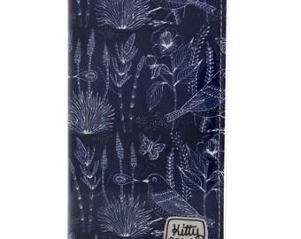 Passport wallet - Bushland birds and butterflies on blue