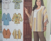 Simplicity 2230 Women's Sewing Pattern, Khaliah Ali Boho Blouse, Ruched Tunic, Caftan Top, Bell Sleeves, Scoop Neck, Plus Size 20W - 28W