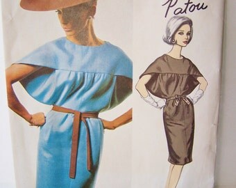 Vogue 1358 Paris Original Jean Patou Dress, Misses'  Rare 60's High Fashion Sewing Pattern  Size 12 Slim Dress with Tie Belt & Sewing Label