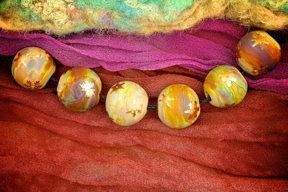 "SRA Lampwork Beads Set of 6 ""Golden Snowflake Spheres"" Handmade Sandblasted Glass and 24K Gold Lustre on Silver Glass"