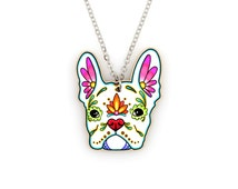 French Bulldog in White Day of the Dead Sugar Skull Dog Necklace