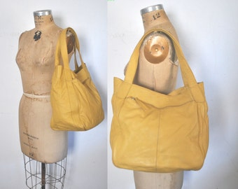 YELLOW Leather Market Tote Bag / Black Weekender shopper