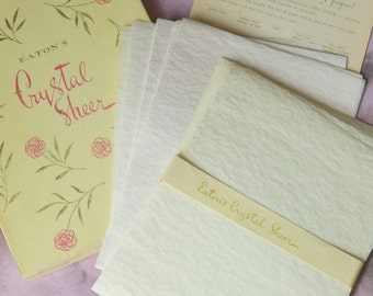 Vintage Eaton's Boxed Stationery Pale Yellow & Pink Crystal Sheer Writing paper