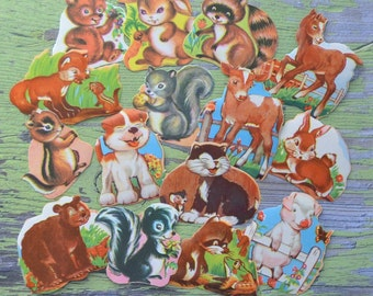 Vintage Cute Forest & Farm Animals Gummed Seals Lot of 15