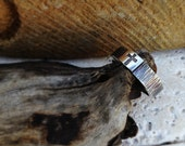 Old Rugged Cross Ring Wood Like Texture on Men's Sterling Silver Band Personalize it with any inscription on the inside for FREE