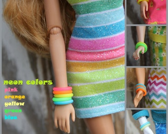 5 Rubber Bangle Bracelets for 11 1/2 - 12 inch 1/6th scale Female Fashion Dolls Pick from 52 Colors New Neon Colors & Glow in the Dark