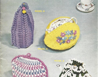 Tea Cosies, Coffee Pot Cosy and TEapot Cover Vintage Knitting Pattern 532