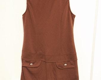 Vintage 1980s little brown stretch mini dress