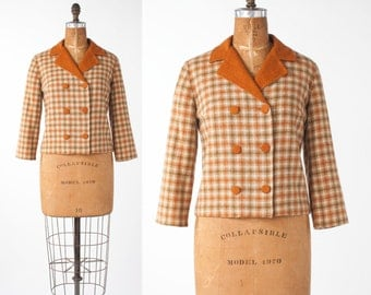 Vintage Orange Wool Plaid Jacket, 1960s Cropped Boxy Top, Woman's Clothing, Jackets & Coats