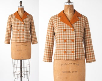 60s Orange Wool Plaid Jacket, Vintage Cropped Boxy Top in Cozy Autumn Colors