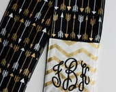 Camera Strap Cover- lens cap pocket and padding included- Monogrammed Gold Chevron and Arrows