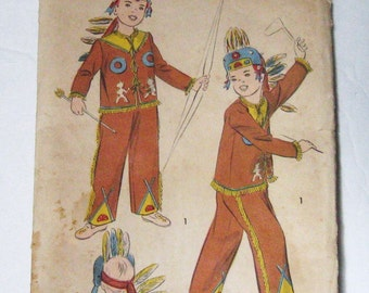 Unused Pattern 40s 50s Vintage Advance 705, Children's Costume, Native American Indian, Jacket, Pants, Headdress, Boy or Girl Chest 26""