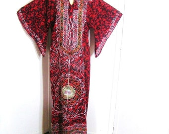 Vintage 60s 70s Dashiki Dress Cotton Maxi Red Black White Green Embroidered Caftan Angel Bell Sleeve Ethnic Tribal Boho Hippie Up to 38 Bust