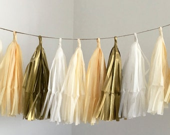 CHAMPAGNE OMBRE / tissue paper tassel garland / nursery decor / gold wedding garland / anniversary decorations / party garland / cream decor
