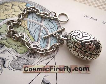 Zombie Brain Bracelet Silver Plated Anatomical Brain Jewelry Steampunk Bracelet Medical Lab Human Biology Halloween Jewelry Zombie Bracelet