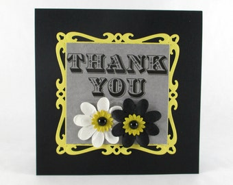 Thank you card, with thanks, so thankful, notecard, note card, daisy flowers, black yellow white