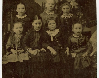 7 Pretty Girls - Painted Landscape Backdrop - Half Plate Tintype