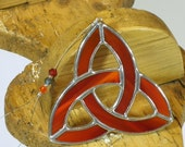Small red Stained glass Celtic Trinity Knot Suncatcher  & Window ornament