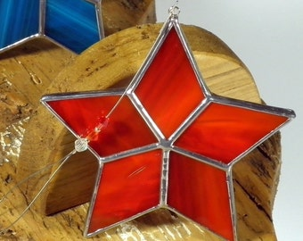 Red Star Stained glass suncatcher, Christmas tree ornament and window decoration