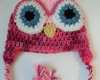 Owl Hat, Little Hoot, Infant hat, Pink Owl Baby Hat, Baby Girl Photo Prop