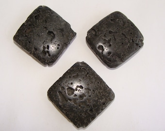 Large square lava rock beads 3 pcs - Stacking 28mm puffed natural stone volcanic rock black big pendant focal