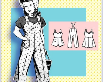 Vintage 1940s-GIRLS PLAY ENSEMBLE-Mail Order Sewing Pattern-Overalls-Romper-Hat-Sun-Dress-Heart Shaped Bodice-Rick-Rack-Size 8-Rare