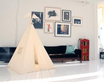 Teepee tent - plain cotton MIDI size tipi, Moozle teepee, Ecru teepee tent, teepee for children