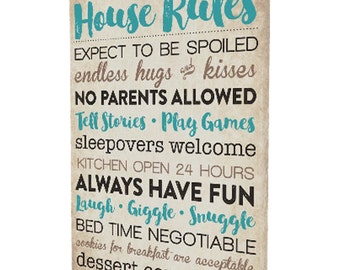 Grandparents Rules Canvas Gallery Wrap
