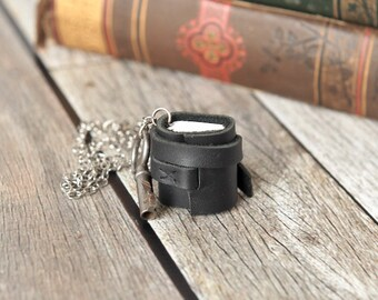 Black Leather Journal Necklace with Skeleton Key, Mini Book Jewelry