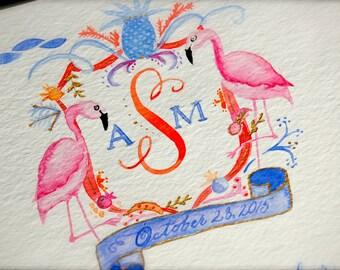 Watercolor Crest Marriage Certificate, Wedding Watercolor Crest, Wedding Crest, Watercolor Flamingo