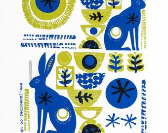 Hares handprinted cotton tea towel