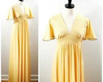 Vintage Maxi Dress, 70s Yellow and Black Polka Dot Empire Waist Maxi Gown, Flutter Sleeve Summer Dress Size S 5 Juniors