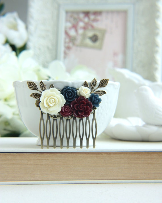 Wedding Hair Comb, Burgundy Comb, Ivory, Maroon Navy Blue Wedding, Maroon and Dark Blue Flower Hair Piece, Rustic Romantic, Bridesmaids Gift