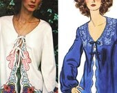 Romantic Embroidered Boho Top! Vintage 1970s Vogue Sewing Pattern 1405, Misses' Jacket w/ Embroidery Transfers, Size M, Uncut with FFs