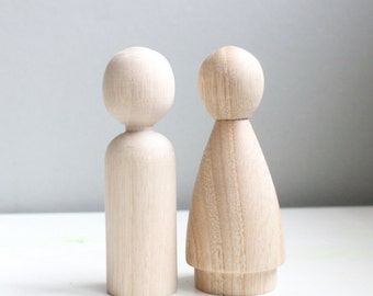 "Peg Doll Woden Wedding Cake Toppers with DRESS - size 3.5"" - Fair Trade 2 Wooden Dolls - Unpainted"