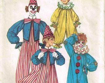 Child Clown Suit Hat Ruffled Neckline Bow-tie Halloween Costume Children Sewing Pattern Simplicity 9051 Kids Girls Boys Size 6 8